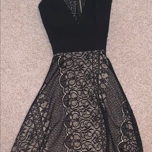 A black and nude homecoming dress.